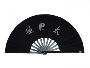Tai Chi Fan With Classic Tai Chi Pattern Black