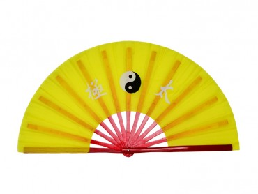 Tai Chi Fan With Classic Tai Chi Pattern Yellow