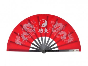 Tai Chi Fan Classic Tai Chi and Dragon Red