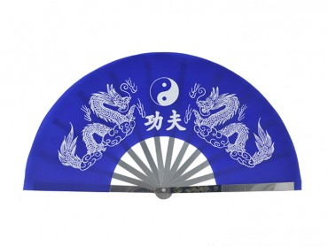 Tai Chi Fan Classic Tai Chi and Dragon Blue
