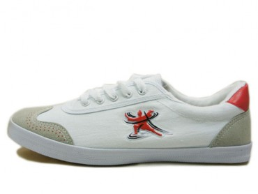Double Star Canvas Tai Chi Shoes White Tai Chi Quan Pattern