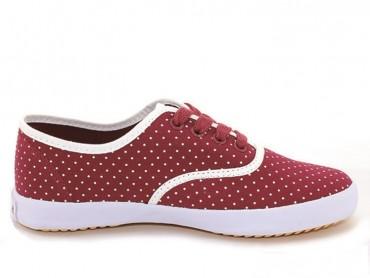 Feiyue Plain Polka Dot Sneaker - Maroon shoes