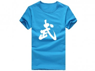 Kung Fu T-shirt Classic Chinese Wu Character Blue