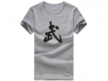 Kung Fu T-shirt Classic Chinese Wu Character Grey