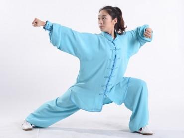 Professional Tai Chi Uniform Summer Woman Light Blue