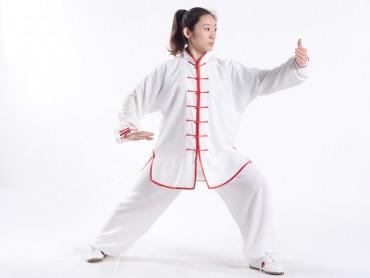 Professional Tai Chi Uniform Summer Woman White Red