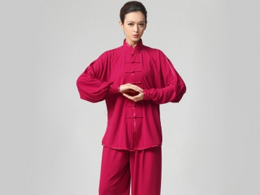 Tai Chi Clothing Set Casual Style Rose Red