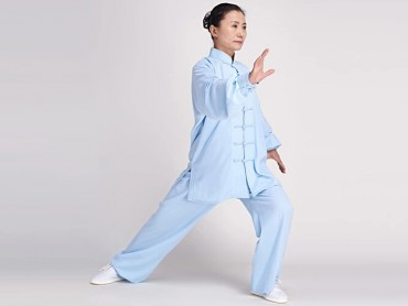 Tai Chi Clothing Cotton and Linen Suit for Women Light Blue