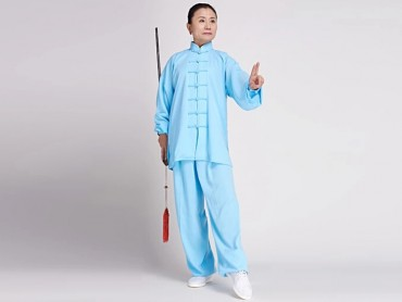 Tai Chi Clothing Cotton and Linen Suit for Women Acid Blue
