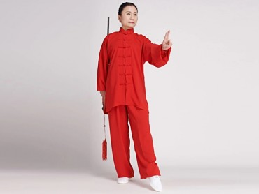 Tai Chi Clothing Cotton and Linen Suit for Women Red