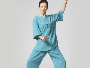 Tai Chi Clothing Half-sleeve Casual Style Blue