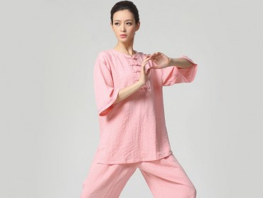 Tai Chi Clothing Half-sleeve Casual Style Pink