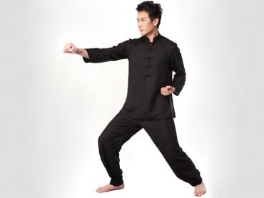 Tai Chi Clothing Half-sleeve Flax Black