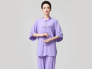 Tai Chi Clothing Half-sleeve Suit for Women Violet