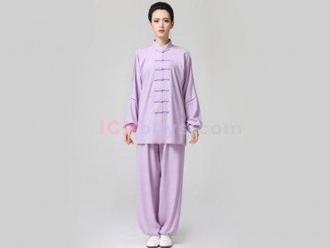 Tai Chi Clothing Linen for Women Light Violet