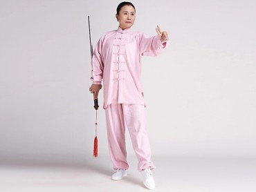 Tai Chi Clothing linen Suit for Women Pink