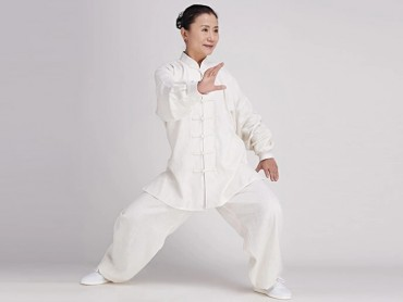 Tai Chi Clothing linen Suit for Women Snow White