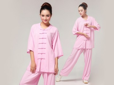 Tai Chi Clothing Pure Cotton Half-sleeve for Women Pink