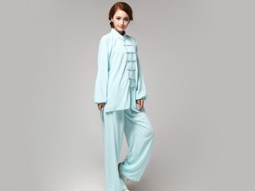 Tai Chi Clothing Pure Cotton for Women Light Blue