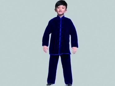Tai Chi Clothing Set Kids Boy Velvet Gem Blue