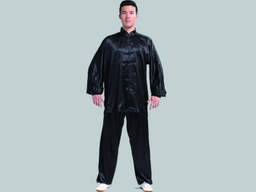 Tai Chi Clothing Set Men Spring Summer Black Paddy