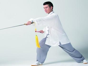 Tai Chi Clothing Set Men Spring Winter White Grey