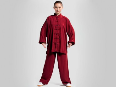 Tai Chi Clothing Set Professional Burgundy Jinwu