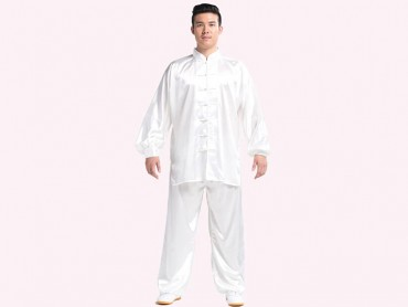 Tai Chi Clothing Silk-like Fabric White