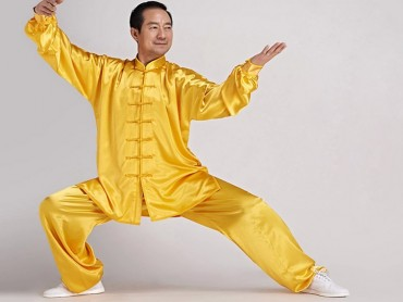 Tai Chi Uniform Silk Like Suit for Men Yellow