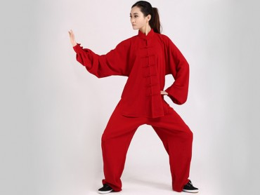 Tai Chi Clothing Uniform Red Women Elastic Linen