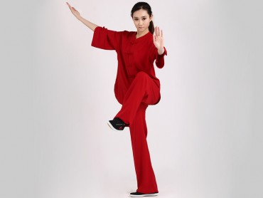 Tai Chi Clothing Uniform Women Summer Half Sleeve Red Elastic Linen
