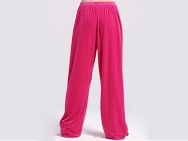 Tai Chi Pants Pleuche for Men and Women Pink