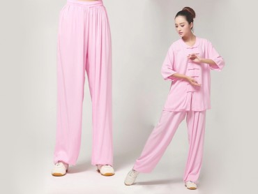 Tai Chi Pants Pure Cotton for Women Pink