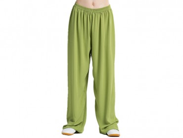 Tai Chi Pants Silk and Linen for Men and Women Green