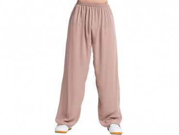 Tai Chi Pants Silk and Linen for Men and Women Brown