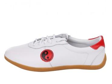 Tai Chi Shoes Soft Leather White Jinwu