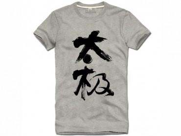 Tai Chi T-shirt Chinese Characters Tai Chi Grey