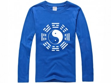 Tai Chi T-shirt Long Sleeve Tai Chi Pattern Blue