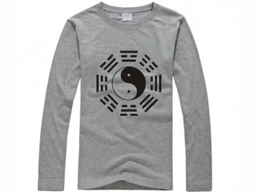 Tai Chi T-shirt Long Sleeve Tai Chi Pattern Grey