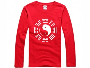 Tai Chi T-shirt Long Sleeve Tai Chi Pattern Red