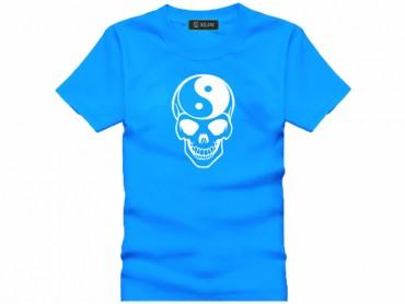 Tai Chi T-shirt Skull Blue
