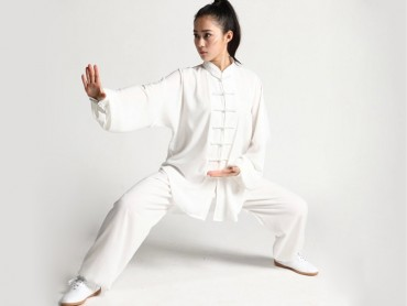 Tai Chi Uniform Cotton and Silk Suit for Men and Women White