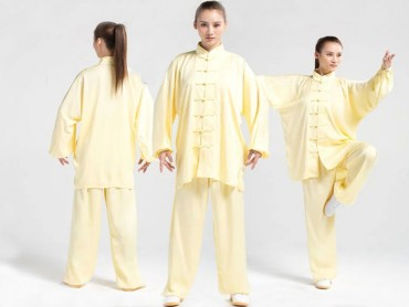 Tai Chi Uniform Silk and Satin Suit for Men and Women Golden