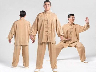 Tai Chi Uniform Silk and Satin Suit for Men and Women Champagne