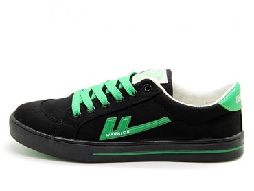 Warrior Footwear Black Green Canvas Sneaker