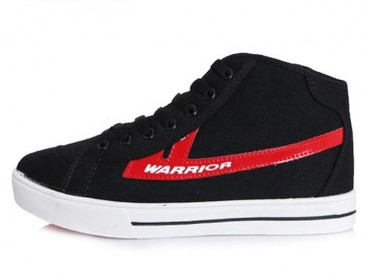 Warrior Footwear High Top Canvas Sneaker Black Red