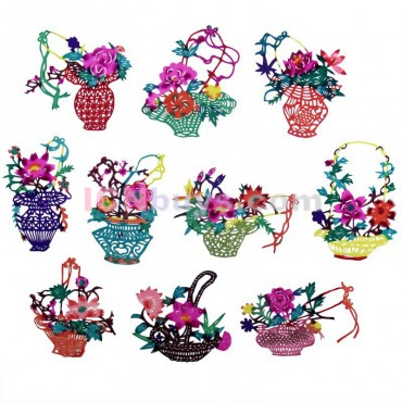 Chinese Paper Cutting Colorful Flowers Baskets Set