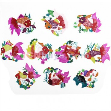 Chinese Paper Cutting Colorful Golden Fish Set