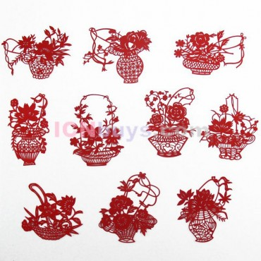 Chinese Paper Cutting Red Flowers Baskets Set