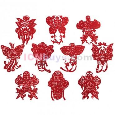 Chinese Paper Cutting Red Kites Set
